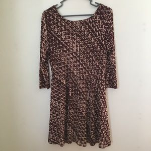 Burgundy patterned 3/4 sleeve Dress Lg As u wish